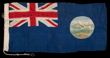 the 1865-1925 version of the falkland island flag collected by francis davies during the discovery ii expeditions