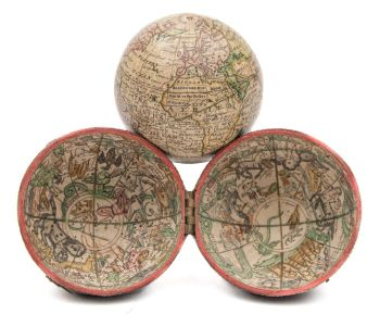 nathaniel hill (fl.1746-1748) a 2 inch pocket globe:, signed 'a new terrestrial globe by nath hill 1754'