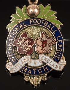 edwardian 9ct gold and enamel scottish international football medal for alexander bennett