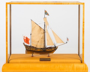 "an exceptional 16' 1"" scale admiralty navy board style model of the 17th century eight gun royal yacht hmy charles (1675) modelled by donald mcnarry frsa:"