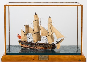 a waterline model of the 20 -gun sixth-rate frigate hms tartar (1734) modelled by donald mcnarry frsa