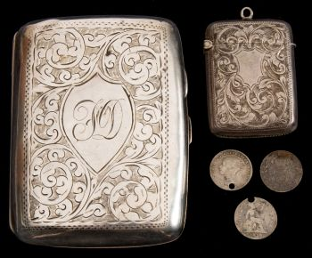 francis davies silver cigarette case and vesta case taken on the terra nova and discovery ii expeditions