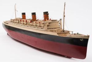 a scale model of rms queen mary made for hamleys of london