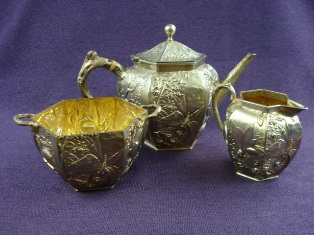 a three piece silver gilt tea set by alexander crichton 1878