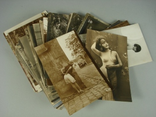 a collection of early 20th century erotic postcards