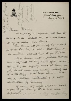a letter from harry pennell to francis davies on his concern for sir ernest shackleton.