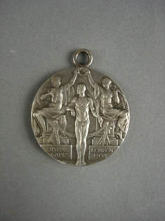 london 1908 olympic silver medal front