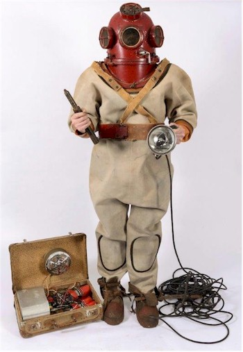 a set of homemade standard diving equipment made by a swedish farmer.