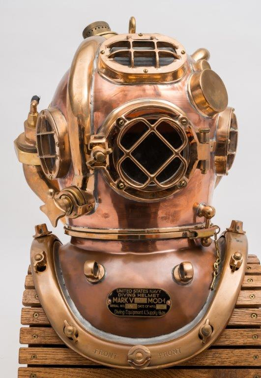 a us navy mark v helium re-breather diving helmet by morse (front).