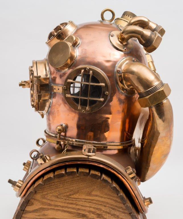 a us navy mark v helium re-breather diving helmet by morse (side).