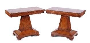 a pair of regency pollard oak rectangular card tables in the manner of george bullock (sf18/1005)