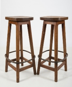 a set of six 'mouseman' oak bar stools by robert thompson of kilburn (fs22/1154)