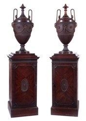 a pair of george iii mahogany pedestal urns