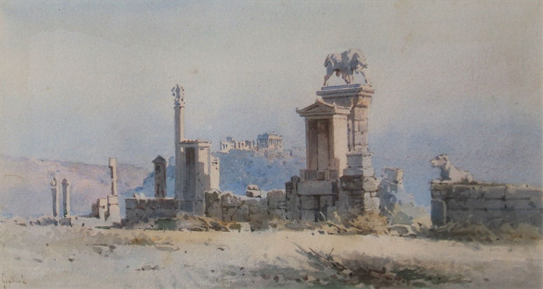 watercolour of the acropolis painted by angelos giallina (1857-1939).