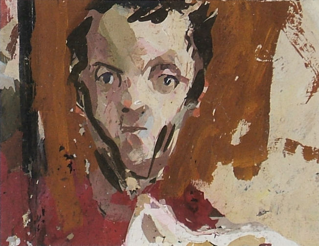 portrait of a young man by robert lenkiewicz, estimate £200-300