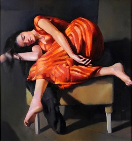 robert lenkiewicz - esther in orange and red dress - estimate £15,000-20,000