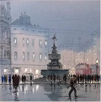 watercolour of the statue of eros in piccadilly circus by william francis longstaff (1879-1953)