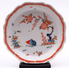 a bow porcelain dish in the two quails pattern circa 1760