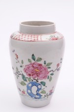 a bow porcelain vase with famille rose decoration circa 1750-52 (fs17/16)