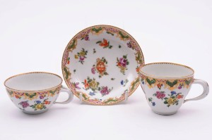 a champion's bristol porcelain trio from the ludlow service circa 1775-80