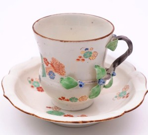 a chantilly porcelain cup and saucer circa 1740-50