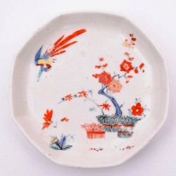 a chelsea 'raised anchor' 1752-53 saucer with kakiemon inspired decoration (fs17/61)