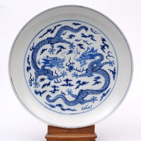 a chinese porcelain dragon dish, guangxu mark and period 1874-1908
