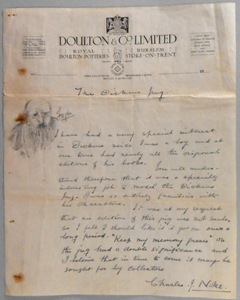 a hand written letter by charles noke regarding the dickens dream jug he designed.