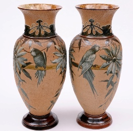 a large pair of doulton lambeth pate-sur-pate vases by florence barlow