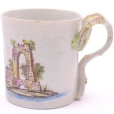 a longton hall porcelain castle painter coffee can circa 1756-58