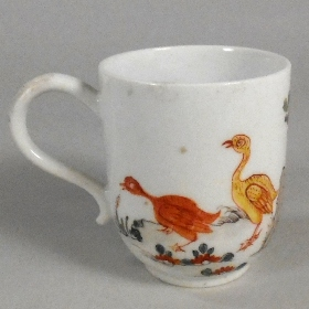 a longton hall porcelain cup in the goose pattern circa 1758-60