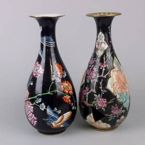 a marked woods & sons formosa pattern vase and an unmarked pate sur pate vase