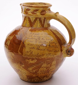 a north devon pottery harvest jug inscribed for richard ching, bideford, 1855