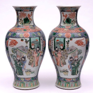 a pair of chinese porcelain vases decorated in the famille verte palette, 19th century