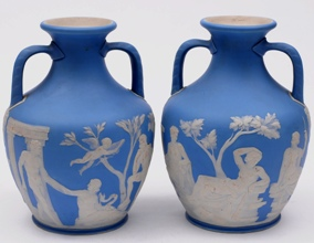 a pair of wedgwood pale blue jasper ware portland vases