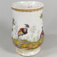 a plymouth porcelain mug circa 1768-70 decorated with 'soqui' birds
