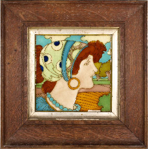 a typical tubelined tile by charlotte rhead