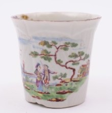 a worcester porcelain coffe cup with 'novel' european landscape decoration circa 1755
