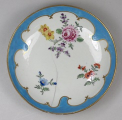 a worcester porcelain saucer decorated by james giles circa 1765