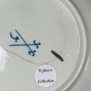 a worcester porcelain saucer decorated by james giles circa 1765 - with pseudo meissen marks