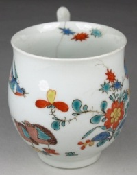 a worcester porcelain two quails cup in the kakiemon palette circa 1758