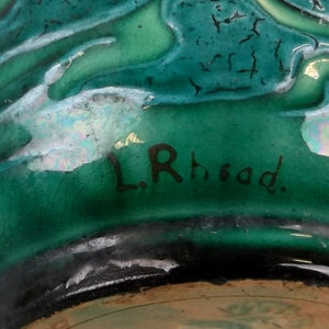 charlotte-lottie-rhead's signature on a bretby vase