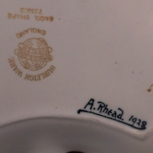 dollie rhead's signature on a burleigh ware sandwich set