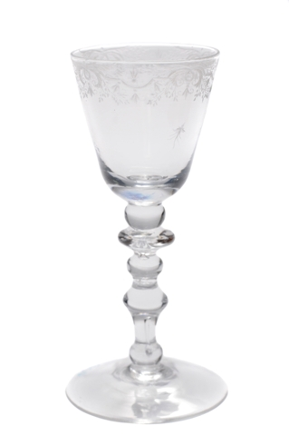 antique wine glass -  a light baluster circa. 1740