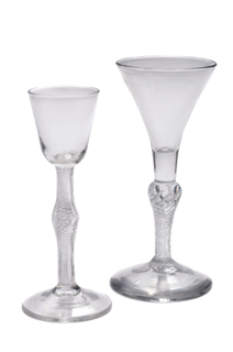 antique wine glasses - two single series air twists circa. 1750-60