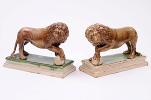 pair of staffordshire ralph wood lions, circa 1780