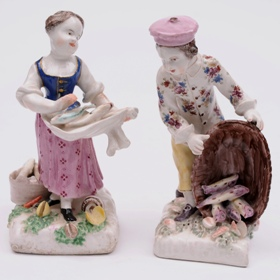 two early bow porcelain figures of fish sellers circa 1755-62