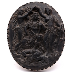 wedgwood black bassalt plaque king james crowned by peace and justice above the body of discord
