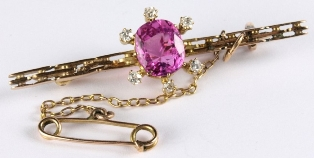 a pink sapphire and diamond bar brooch (fs19)