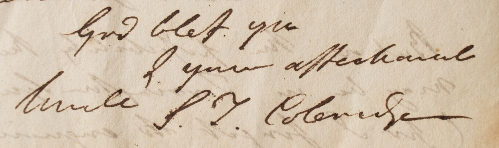 samuel taylor coleridge (1772-1834) signature on letter